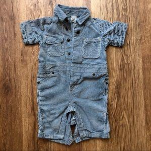 BabyGap Striped Button Down Bodysuit 6-12 Months